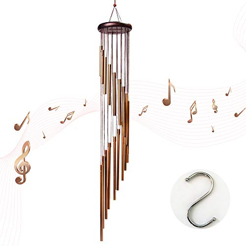 """HAINABC Wind Chimes Outdoor, 35"""" Large Wind Bells with 18 Aluminum Alloy Tubes and Wood Design Decoration for Garden, Patio, Balcony Outdoor & Indoor(Golden)"""