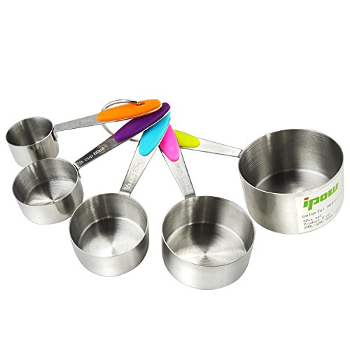 Stackable Measuring Cup (Thicker Handle,5 PCS IPOW Solid Sturdy Stainless Steel Stackable Measuring Cups Set to Measure Dry and Liquid Ingredients with Soft Handles,for Kitchen Cooking Baking)