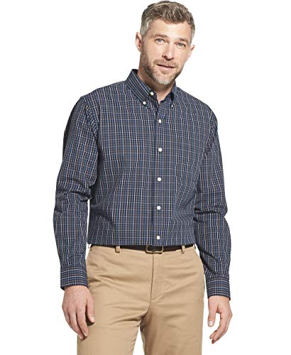 Arrow 1851 Men's Hamilton Poplins Long Sleeve Button Down Plaid Shirt, Deep Navy Blazer, XX-Large ()