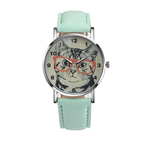 - Women's Watch,Balakie Ladies Cute Cat Pattern Watch Faux Leather Band Analog Quartz Vogue Wrist Watch (Green, NA)