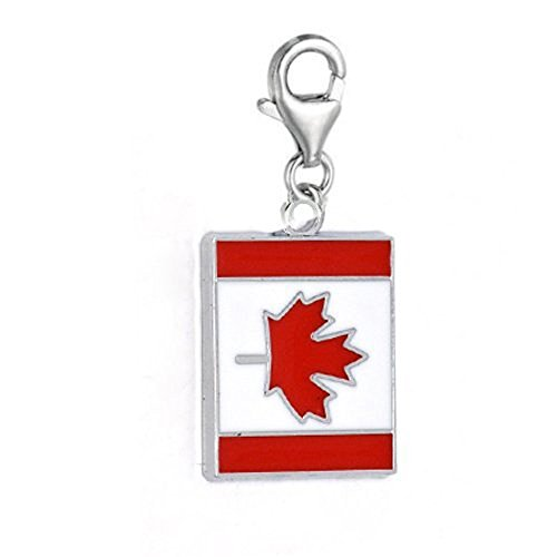 SEXY SPARKLES Clip on Canada Flag Charm Dangle Pendant for European Clip on Charm Jewelry