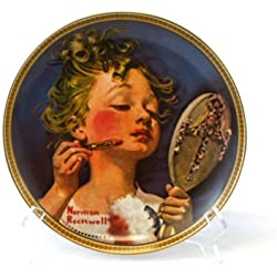 Edwin M Knowles Norman Rockwell's Rediscovered Women Series Making Believe at the Mirror Fine China Collectible Plate