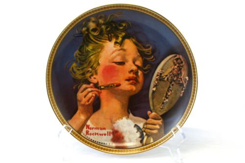 Collectibles Plates Collector - Edwin M Knowles Norman Rockwell's Rediscovered Women Series Making Believe at the Mirror Fine China Collectible Plate
