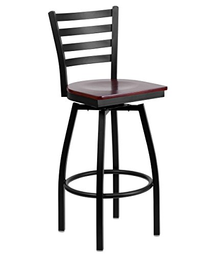 SWVL-MAHW-GG Black Ladder Back Swivel Metal Bar Stool - Mahogany Wood Seat ()