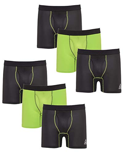 Reebok Men\'s Performance Boxer Briefs Underwear Fly (6 Pack), Black/Lime/Black, Medium'