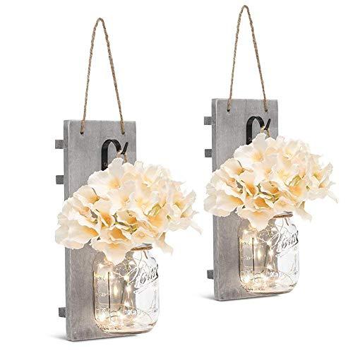 Kitabetty Luces de Hadas LED, Ganchos de Hierro Forjado Vintage, Flor de Hortensia de Seda Diseño de Luces de Tira LED…