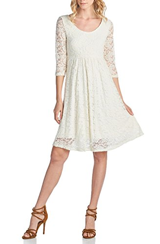 Beachcoco Women's 3/4 sleeve Knee Length Lace Dress (S, Ivory) (Ivory Lace Empire Waist Dress)