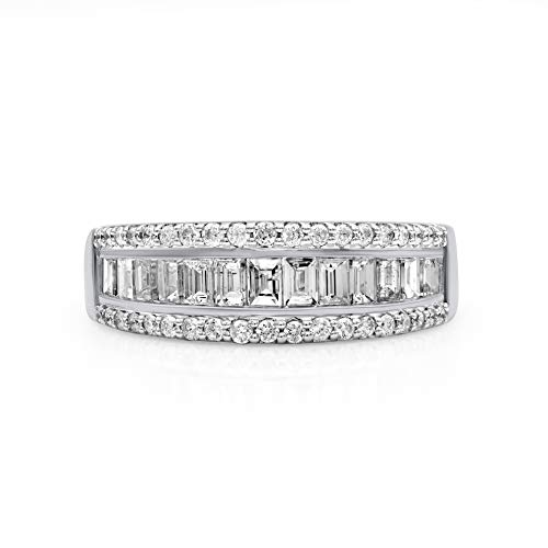 TJD 10K White Gold 1.00 Carat Round-Shape (H-I Color, I2 Clarity) and Baguette-Shape (G-H Color, I1-I2 Clarity) Gorgeous Diamond Band for Women, US Size 7 ()