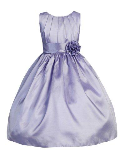 Sweet Kids Big Girls' Shimmering Pleated Crystal Taffeta Flower Girl Dress
