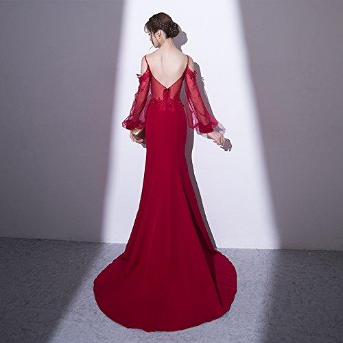 Sun Goddess Mermaid Sweetheart Robe De Soirée Bleu Marine À Manches Longues Slim Parti Prom Appliques Banquet Robe Robe De Soiree Wine red
