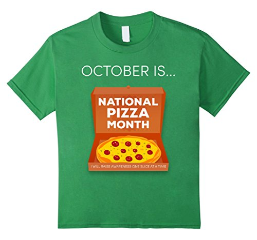 New York National Costume (Kids October is National Pizza Month - Funny Novelty T-Shirt 12 Grass)