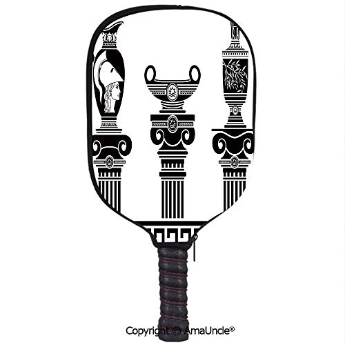 SCOXIXI Neoprene Sports Pickleball Paddle Cover Sleeve,Personalized Set of Hellenic Vases and Ionic Columns Artistic Design Amphora AntiquityRacquet Cover,Lightweight,Durable and Portable