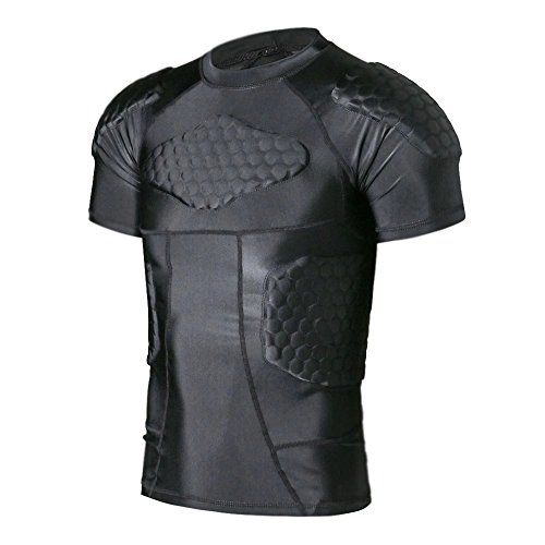 (TUOY Men's Padded Compression Shirt Protective T Shirt Rib Chest Protector for Football Paintball Baseball)