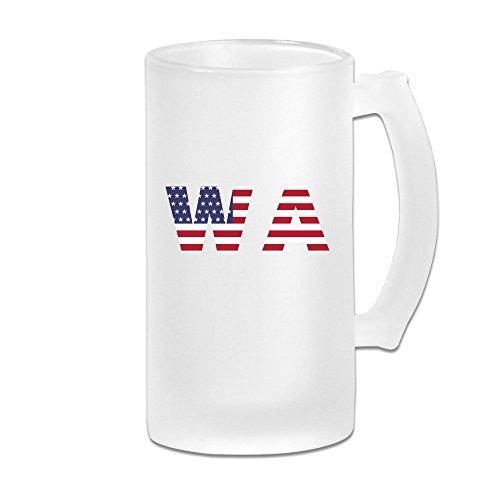 Wa State Of Washington Flag 16OZ Frosted Glass Beer Mug Novelty Glass Beer Mug White