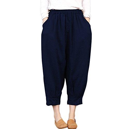 Clearance Sale! Women Pants,Farjing Women Thin Ankle-Length Harem Trousers Capris Loose Elastic High Waist Pants(L,Navy)