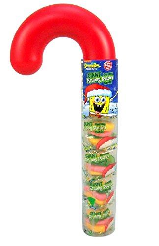 Spongebob Squarepants Gummy Krabby Patty Candy Filled Christmas Candy Cane, 3.5 oz
