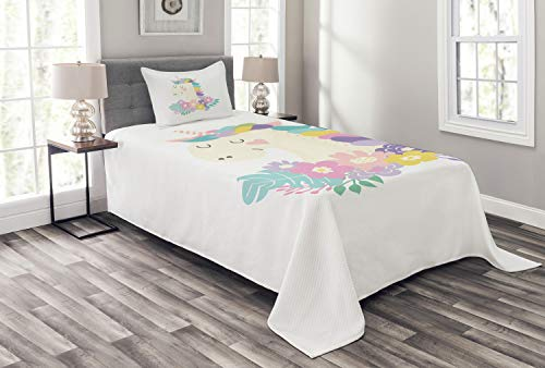 Lunarable Unicorn Bedspread Set Twin Size, Colorful Flowers with Mythical Horse Portrait with Horn Girly Cartoon Illustration, Decorative Quilted 2 Piece Coverlet Set with Pillow Sham, Multicolor