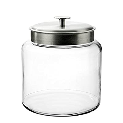 Anchor Hocking Montana Glass Jar with Airtight Lid, Brushed Metal