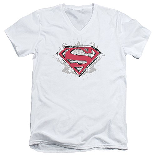 Superman Hastily Drawn Shield Unisex Adult V-Neck T Shirt for Men and Women, Small White ()