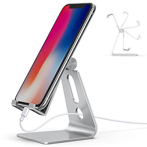 - Adjustable Cell Phone Stand, Lamicall Phone Stand : [Update Version] Cradle, Dock, Holder Compatible with iPhone Xs XR 8 X 7 6 6s Plus SE 5 5s Charging, Accessories Desk, Android Smartphone - Silver