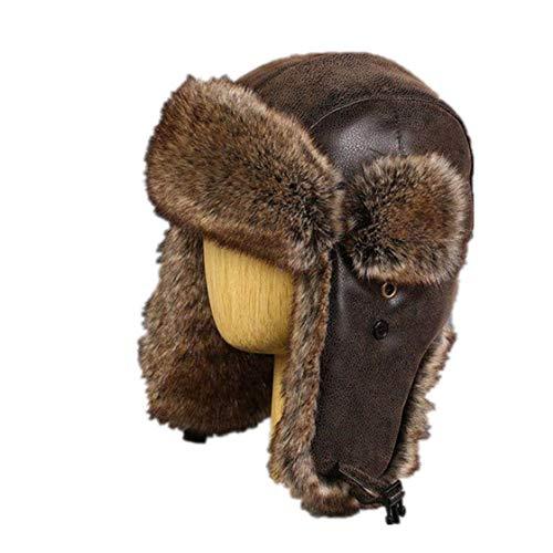 (Men Russhian Vintage Bomber Hats Faux Rabbit Fur PU Leather Winter Hats Pilot Plush Aviator Hat)
