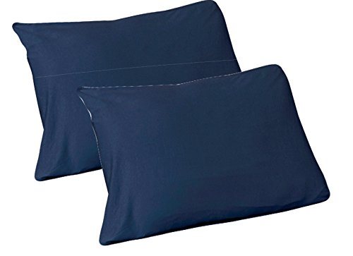ton, 2 Standard Pillow Case Navy (Jersey Knit Standard Pillow Case)