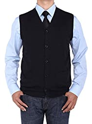 Luciano Natazzi Men\'s Buttoned Cotton Sweater Vest Relaxed Fit (Small, Black)