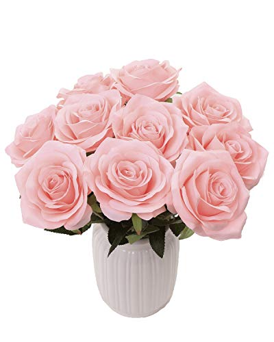 Pink Artificial Rose Bouquet - LUSHIDI Artificial Flower Rose Silk Bouquet for Baby Shower Party Home Wedding Decoration,Pack of 10 (Pink)