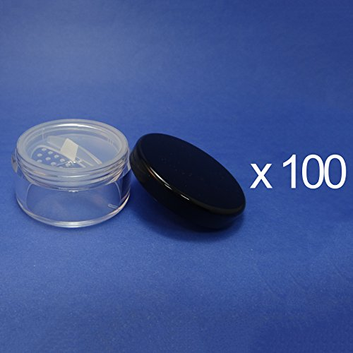 100 Lot Made in Taiwan 30 g Pot Travel Size Sifter Loose Powder Plastic Jar with Rotating Sifter & Black Lid by TOPFASHION89