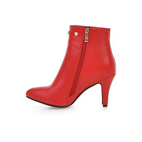 Solid Women's Pointed Zipper Pu High Toe Allhqfashion Heels Boots Closed Red 5ad4ywq