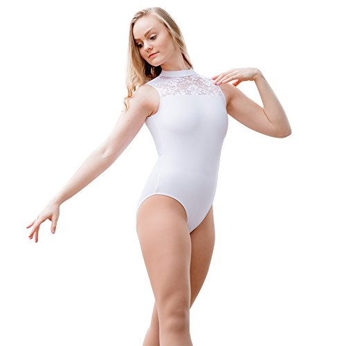 Ladies-Ballet-Lace-Leotard-Bodysuit-Tank-Turtle-neck-Cotton-and-Spandex-S-White