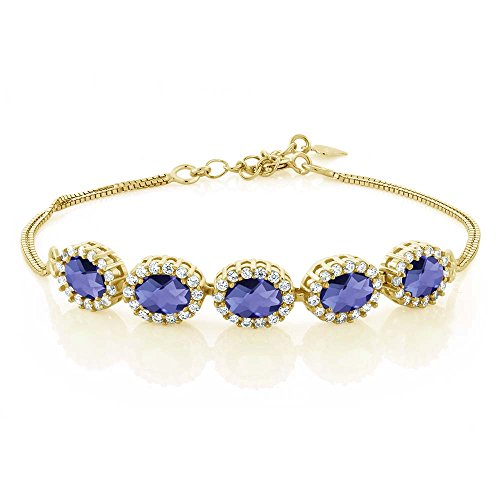 (Gem Stone King 4.29 Ct Oval Checkerboard Blue Iolite 18K Yellow Gold Plated Silver Bracelet 7inches + 1.5inches)