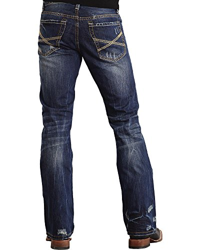 Stetson Men's Rocker Fit with Lower Rise and Slightly Fitted Thigh Jean,Dark Stone Wash with Destructed X Back Pocket Embroidery, 34x32 Destructed Bootcut Jeans