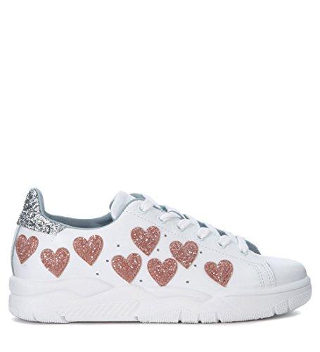 Chiara Ferragni Sneakers Roger I Læder Hvid Med Glimmer-hjerte Hvid 4wQjUaB2LB
