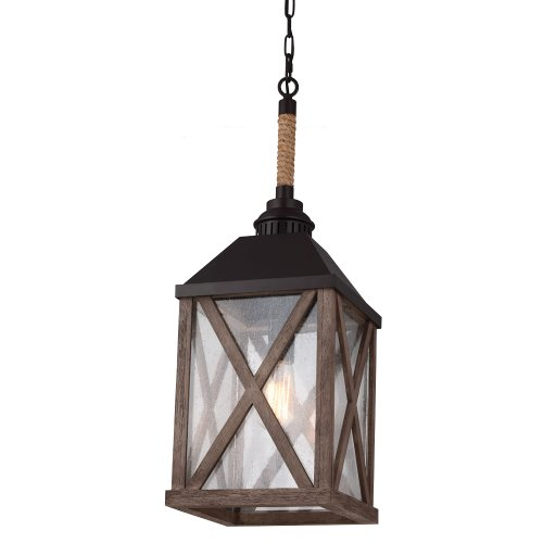 Feiss F2956/1DWO/ORB 1-Bulb Pendant Chandelier, Dark Weathered Oak/Oil Rubbed Bronze (Porcelain Mini Chandelier)