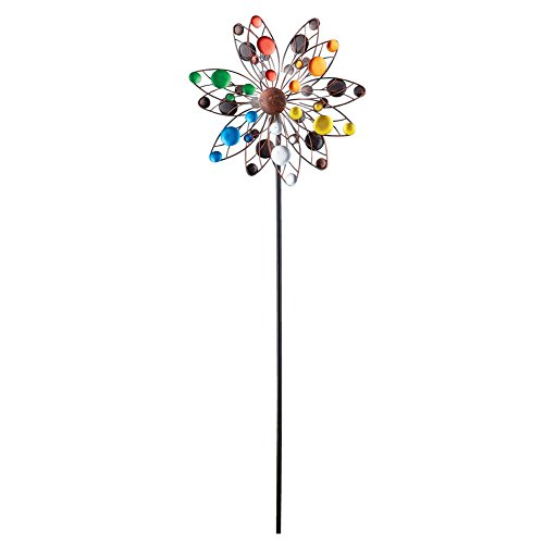 Spinner Yard (Colorful Confetti Solar Lighted Double Sided Kinetic Wind Spinner Garden Art Stake, 47 5/8 H)