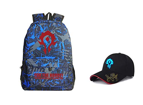 Kids Warcraft Backpacks-WOW Backpack and Caps Set for Boys-Lightweight Backpack for School,Travel