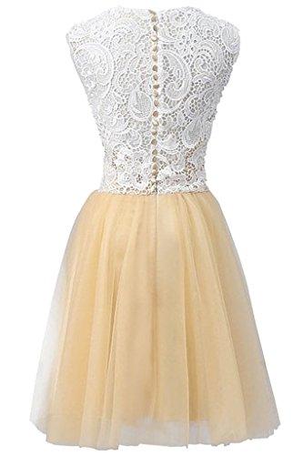 sunvary simple encaje Appliques a-line rodilla gasa fiesta vestidos dama de honor amarillo