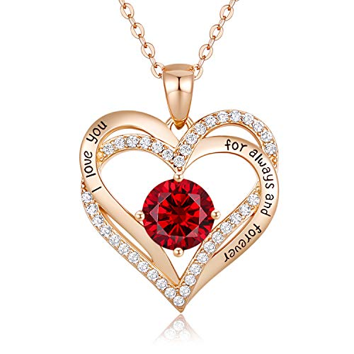 CDE Forever Love Heart Women Necklace 925 Sterling Silver Rose Gold Plated Birthstone Pendant Necklaces for Women with…