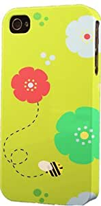 Cartoon Bee & Flower Pattern Dimensional Case Fits Apple iPhone 5 or iPhone 5s