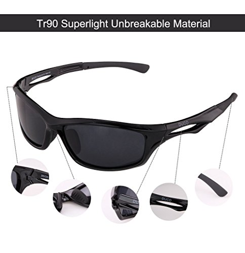 ac222e2abd DUCO Polarized Sports Sunglasses for Running Cycling Fishing Golf TR90  Unbreakable Frame 6199 Black Frame Gray Lens  Amazon.ca  Clothing    Accessories