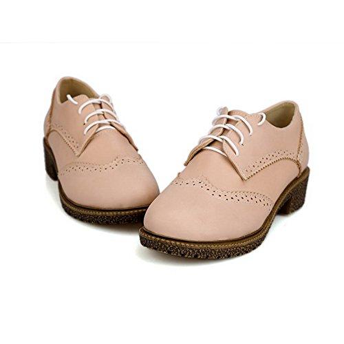 Allhqfashion Dames Gesloten Ronde Neus Vetersluiting Pu Stevige Lage Hakken Pumps-schoenen Roze