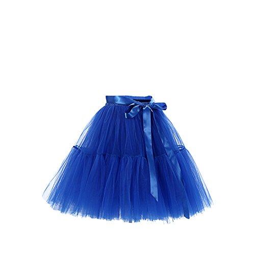 SaiDeng Femmes Lache lev Tour De Taille Vintage Princesse Gaze Long Tutu Pliss Jupe Saphir Bleu