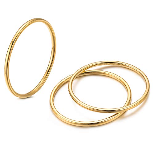 NOKMIT 3Pcs 1mm 14K Gold Filled Stackable Rings for Women Band Rings Knuckle Finger Stacking Ring Silver/Rose/Gold Plain Dome Comfort Fit Size 5 to 10