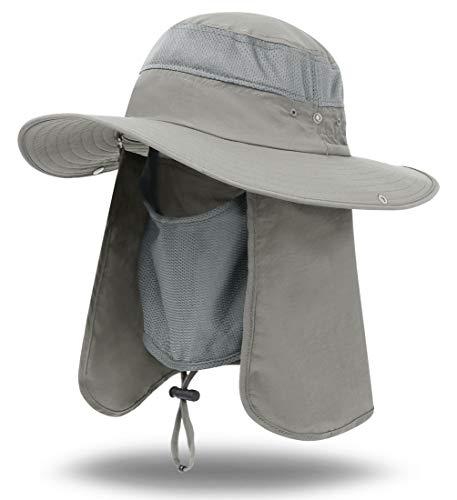 iColor Men's Sun Cap Fishing Hats UV Protection Sun Hats UPF 50+Neck Face Flap Cover Windproof Wide Brim Hat For Men&Women Summer Outdoor Work Gardener Travel (light gray)