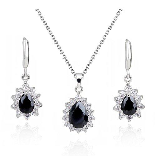 SELOVO Women's CZ Teardrop Jewellery Set Black Hoop Earrings Necklace Silver Tone Black