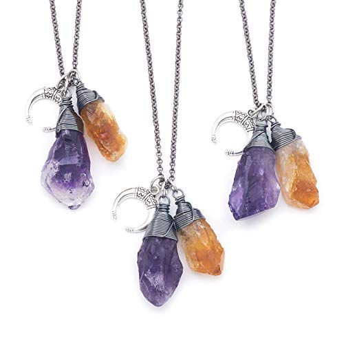 Raw Amethyst Citrine Crystal Gemstone Oxidized Wire-wrapped Pendant Necklace 18 Inches