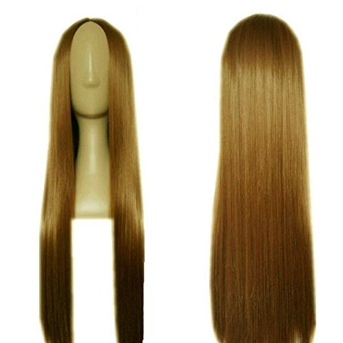 [Dongcrystal Flaxen Long Straight Hair Cosplay Party Wigs] (Cheap Party City Costumes)