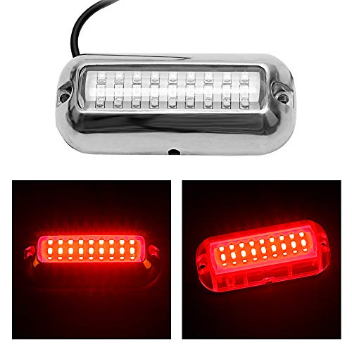 BASIKER 27LED 50W Stainless Steel Underwater Pontoon Marine Boat Transom Light Waterproof Ip68 Searchlight Marine Yacht Led Drain Plug Light for Fishing Swimming Driving RED Pontoon Boat accessorie