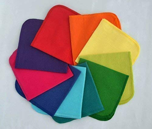 1 Ply Solid Cotton Flannel 12x12 Inches Little Wipes Set of 10 Rainbow Set